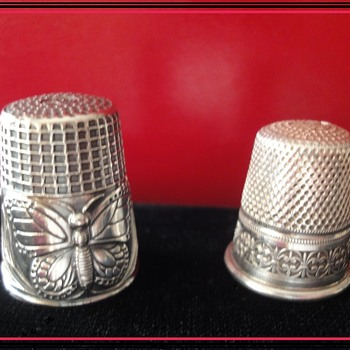 Sterling Silver Thimbels; one Art Nouveau