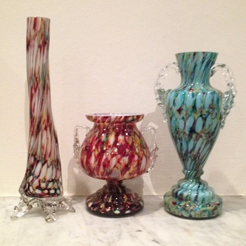 3 unusual honeycomb Welz vases - Art Glass