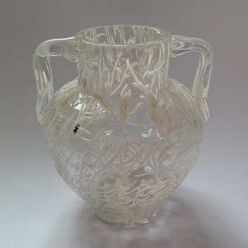 Victorian white threaded Peloton glass vase - Harrach?