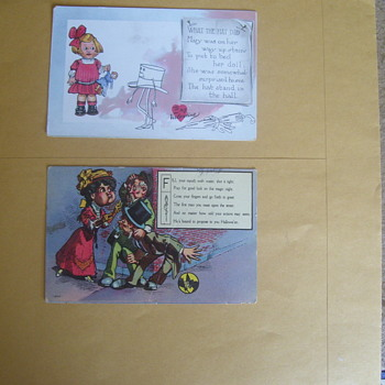 2 REALLY STRANGE VINTAGE HOLIDAY POSTCARDS,VALENTINE & HALLOWEEN SEE ALL PHOTOS