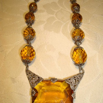 Brass and Glass Bohemian Necklace ca early 1900s - Fine Jewelry