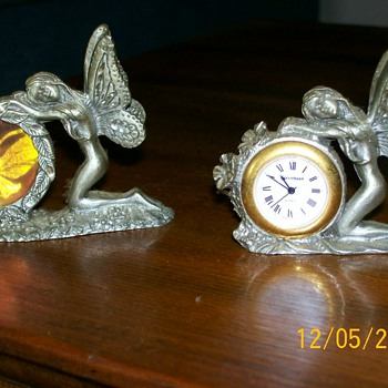 My Pewter miniature Fairies  one with a clock :-) - Clocks