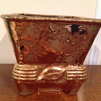 Weeping gold planter with leaf - Art Pottery