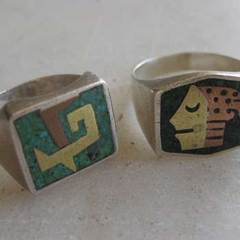 Mixed metal Mexico sterling rings circa 1950's or 60's