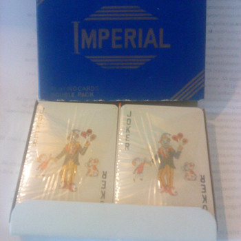 twin pack of unopened Imperial playing cards in box