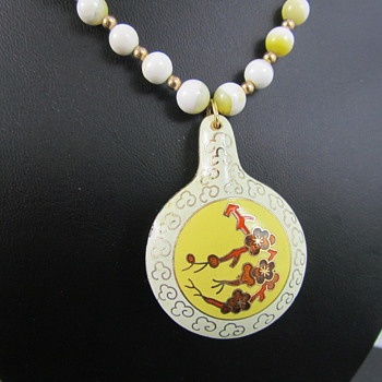 Porcelain Guilloche & Enamel Necklace w/ Glass & Gold Beads