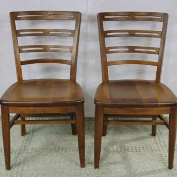 ARt deco style oak side chairs
