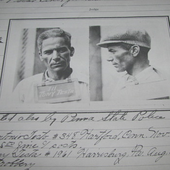 1930 Arrest Photo Copies of 2-Men Arrested, Harrisburg, PA.