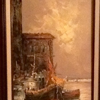 Nice oil painting of 'Boat in Dock' signed by 'Reynolds' - Visual Art