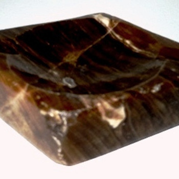 Brown Diamond Shaped Marble Ashtray - Tobacciana