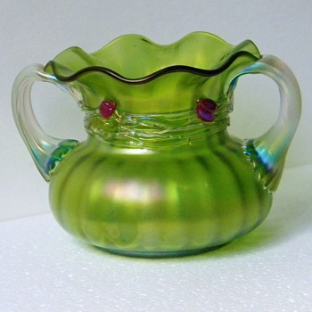 Art Nouveau Loetz Green Glatt Iridescent Applied Cherry Handle Vase