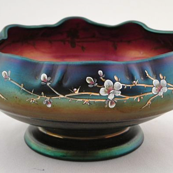 Poschinger Enameled Bowls, Jugendstil Era - Art Glass