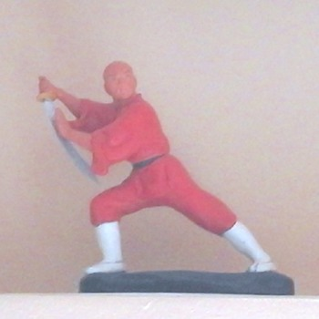 Vintage Clay Shaolin Monk figurine painted with acrylic paint...