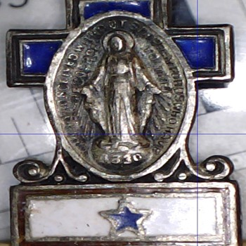 Sterling Son In Service Pin with Immaculate Heart of Mary Medal - Military and Wartime