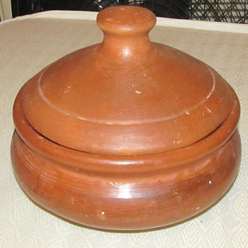 redware pottery with lid