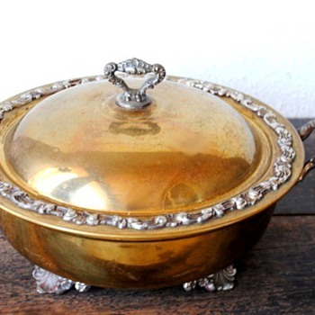 Ornate Metal Brass Covered Dish Marked, but don't know mark