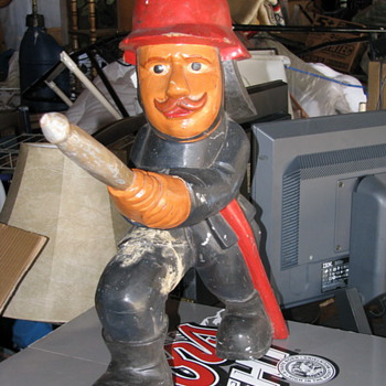 Wood Carved Fireman Statue - Firefighting