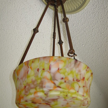 Czechoslovakia Mottled glass Shade Satin Finish Ruckl ? - Art Glass