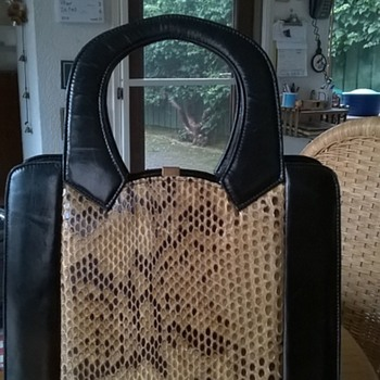 Snakeskin, Suede & Leather Handbag, 1940s/1950s, Thrift Shop Find $2.50 - Accessories
