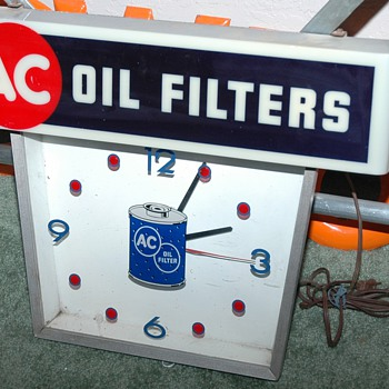 1950's/60's  A C Oil Filter Advertisement Clock - Advertising