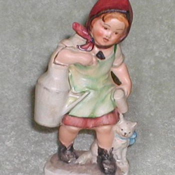 Friedel Figurine &quot;Milk Maiden with Kitten&quot; - Art Pottery