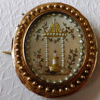 Antique Rose Gold 14ct Mother-on-pearl Mourning Pin/Brooch - Fine Jewelry