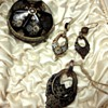 Tortoise Shell Pique SET; earrings and pendant