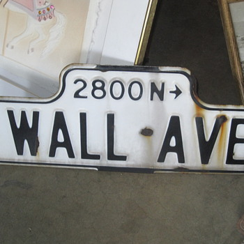 Wall Ave Porcelain Sign