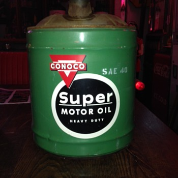 CONOCO...Super Motor Oil Five Gallon Can...SAE 40...1960's