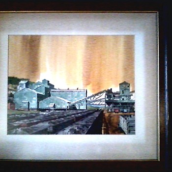 "Architectural Watercolor ""Steel Plant Ore Cars"" /34""x 29"" Framed /Unknown Artist/Circa 1950's-60's - Fine Art"