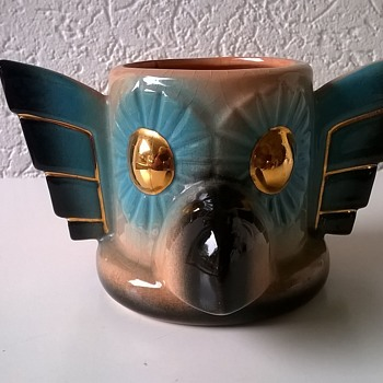 Lustre Eagle Totem Pole Cup, The Clay Shop Phoenix Arizona, Thrift Shop Find 75 Cents - Art Pottery