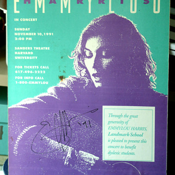 Emmylou Harris signed poster 1991 benifite show Boston