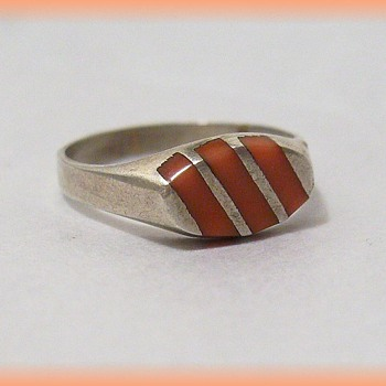 Vintage - Coral and Sterling Silver Ring
