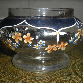 Bohemian enameled glass bowl. - Art Glass