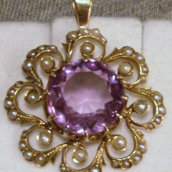 Victorian Amethyst and Seed Pearl Pendant - Fine Jewelry