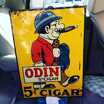 "Original 1930's Embossed ""ODIN"" 5 cent Cigar Tin Sign - Signs"