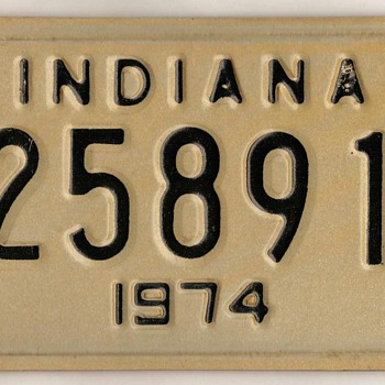 1974 - Motorcycle License Plate (Indiana)