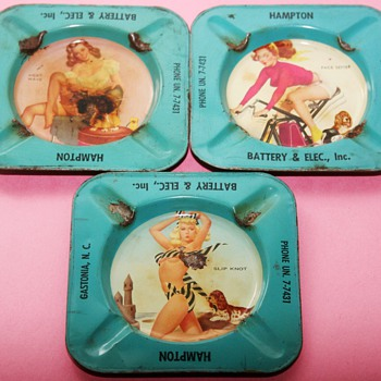 1950&#039;s PIN UP GIRL Advertising Tin Ashtrays - Advertising