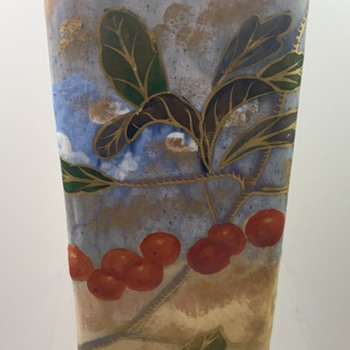 Emile Gallé Faience Triangular Vase with Cherries, ca. 1884-1889; Original Paper Label - Art Pottery