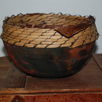 Raku Pot With a Pine Needle Rim - Art Pottery