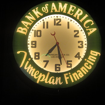 "21"" Bank Of America original neon clock - Advertising"