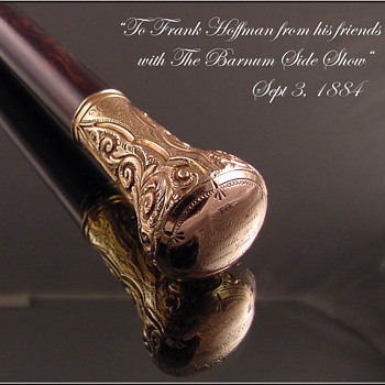 Gold walking stick P.T. Barnum's Circus 1884 - Victorian Era