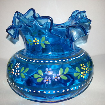 VICTORIAN BLUEGLASS POSY VASE - Art Glass