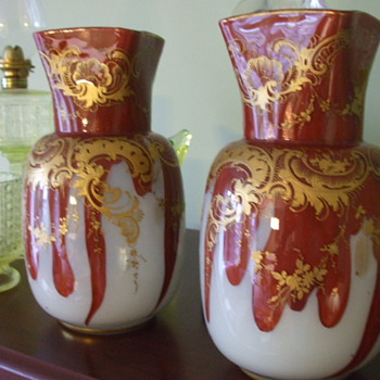 Matching Pair of HARRACH Red Agate & Opal Glass with Aventurine VASES - Art Glass
