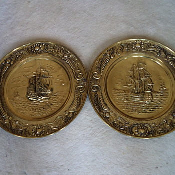 Vintage - Brass Wall Sailing Ship Plates