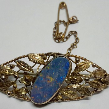 "C1930 ""School of Rhoda Wager"" 9ct gold Brooch with White Cliffs Opal Doublet.. Mystery Solved thanks to KiwiPaul"