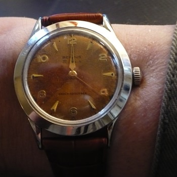 1950s Benrus Steel case and copper 1/4erd colored dial