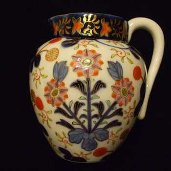 My Favorite PORCELAIN JUG -Flow Blue & Overglaze Enamels-IMARI - Art Pottery