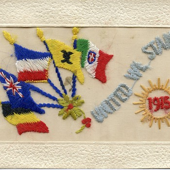 Hand embroidered silk post card