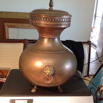 antique copper and brass lamp